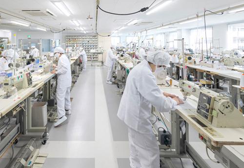縫製室セル生産ライン
